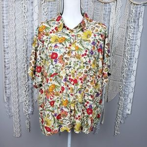 LuLaRoe Yellow Floral Amy Boxy Button Down Shirt